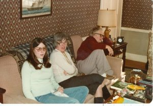 My mom is the woman in the red shirt. Then Aunt Elaine (middle)and Jeanne Rankin (left).